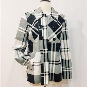 Sandro Sportswear Black & White Plaid Coat